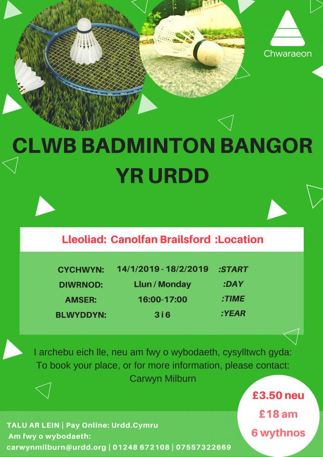 Clwb Badminton Bangor Bl. 3 i 6