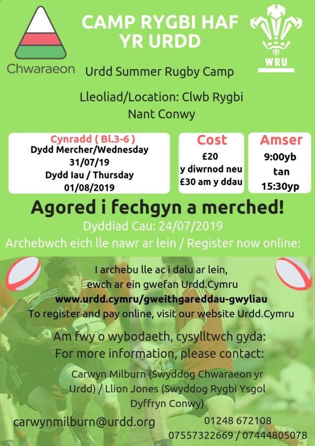 Camp Rygbi Haf Nant Conwy