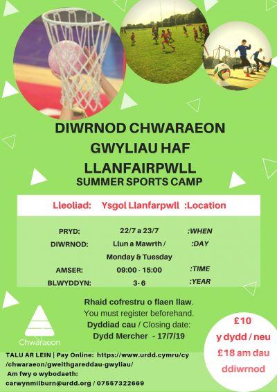 Diwrnod Chwaraeon Haf Llanfairpwll
