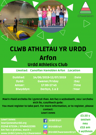 Arfon Athletics Club Reception Yr, 1 and 2
